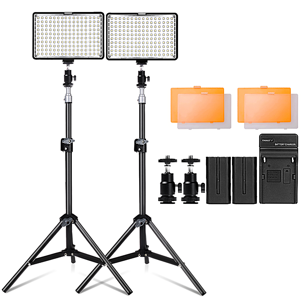 Travor 2 set Led Video Light kit with 30 inch light stand 3200K/5500K 160pcs LED Camera Camcorder Video Light Panel with Battery aputure amaran led video camera light set hr672kit led photography light led light hr672ssw kit 3 led video light set