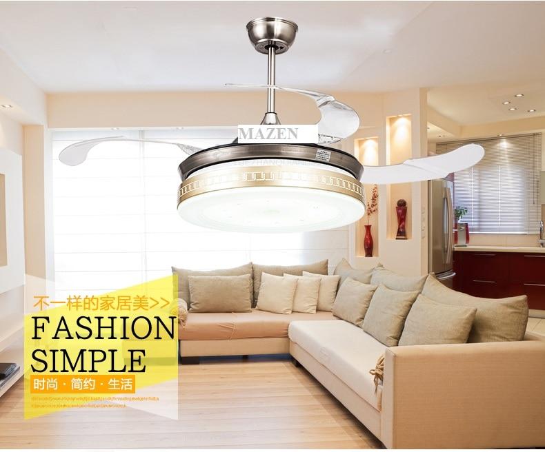wohnzimmer esszimmer decke fans 42 zoll led deckenventilator lichter einziehbare goldene fan lampen decke mit fernbedienung in wohnzimmer esszimmer decke - Einziehbarer Deckenventilator