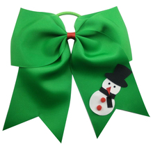 6-7 inch christmas snowman cheerleading bows Grosgrain Ribbon Bows Elastic Band Ponytail Hair Holder For Girls/Women 2017 Newest