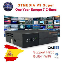 Freesate V9 Super satellite receiver+1 year Spain CCCAM DVB-S2 H.265 decoder with built-in WIFI tv box same as Gemedia v8 NOVA