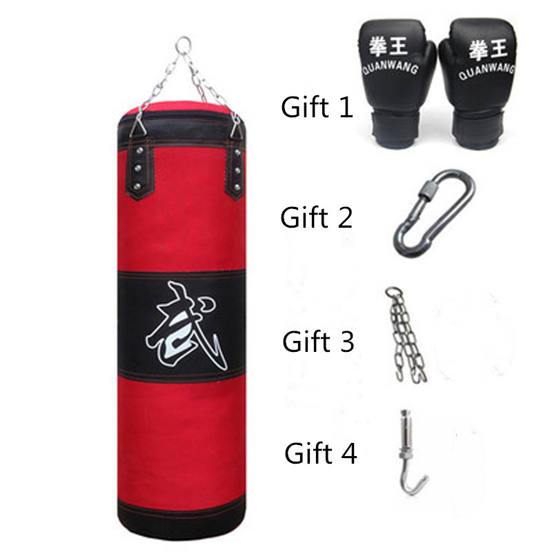 120cm Training Fitness MMA Boxing Punching Bag Empty Sport Kick Sandbag Muay Thai Boxer Training Set Wraps & Hook &a pair Gloves gloves boxing gloves bessky® cool mma muay thai training punching bag half mitts sparring boxing gloves gym