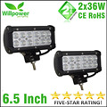 2x36W FREE Shipping Double rows Flood beam Spot Beam 12v waterproof truck auto car boat off road 12 volt led work light bar 4x4
