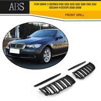 3 Series 2PCS Gloss Black Front Grille Grill Double Slat For BMW E90 320i 323i 325i 328i Sedan 4 Door 2005 2008