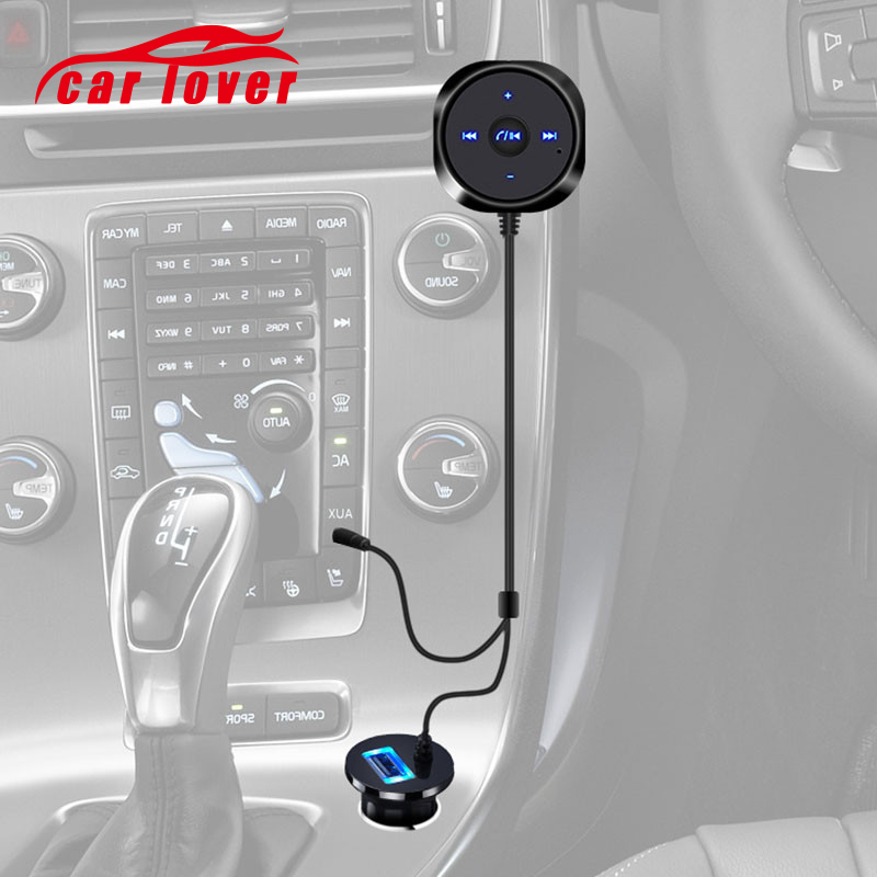 Handsfree Bluetooth Car Kit MP3 A2DP 3.5mm AUX Audio Music Receiver Adapter 5V 2.1A USB Charger For iphone Android usb