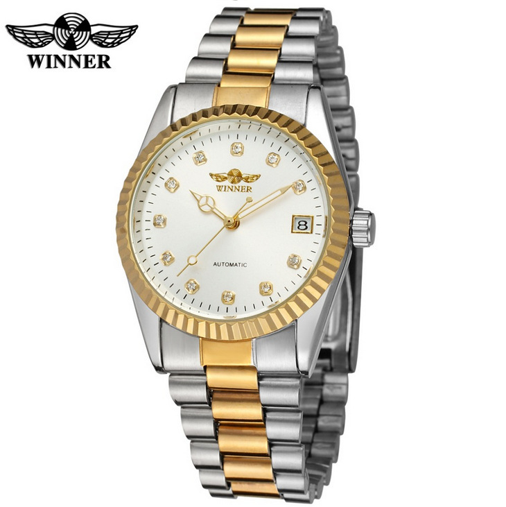 Fashion Hot WINNER Top Brand Luxury Gold Mens Wrist Watch Men Business Clock Automatic Mechanical Watches Male Steel Skeleton