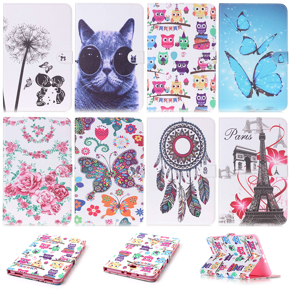 Fashion Butterfly Cat Pattern PU Leather Flip Case Funda For Samsung Galaxy Tab A 10.1 (2016) T580 SM-T580 Tablet Back Cover