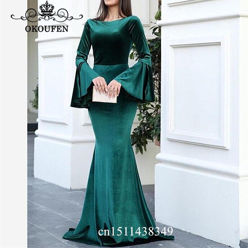 Hunter vert velours sirène robe de soirée avec manches longues évêque 2019 V retour bijoux cou robes de bal pour les femmes