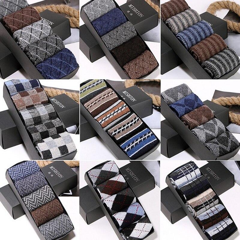5 Pairs  Autumn Winter Thick High Density Warm Rabbit Wool Socks Men Fashion Multi Pattern Large Size Quality Soft Sock Man Meia