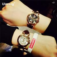 Hot Sale Vintage Rose Gold Rome Scale Genuine Leather Wristwatches Wrist Watch Gift For Women Ladies