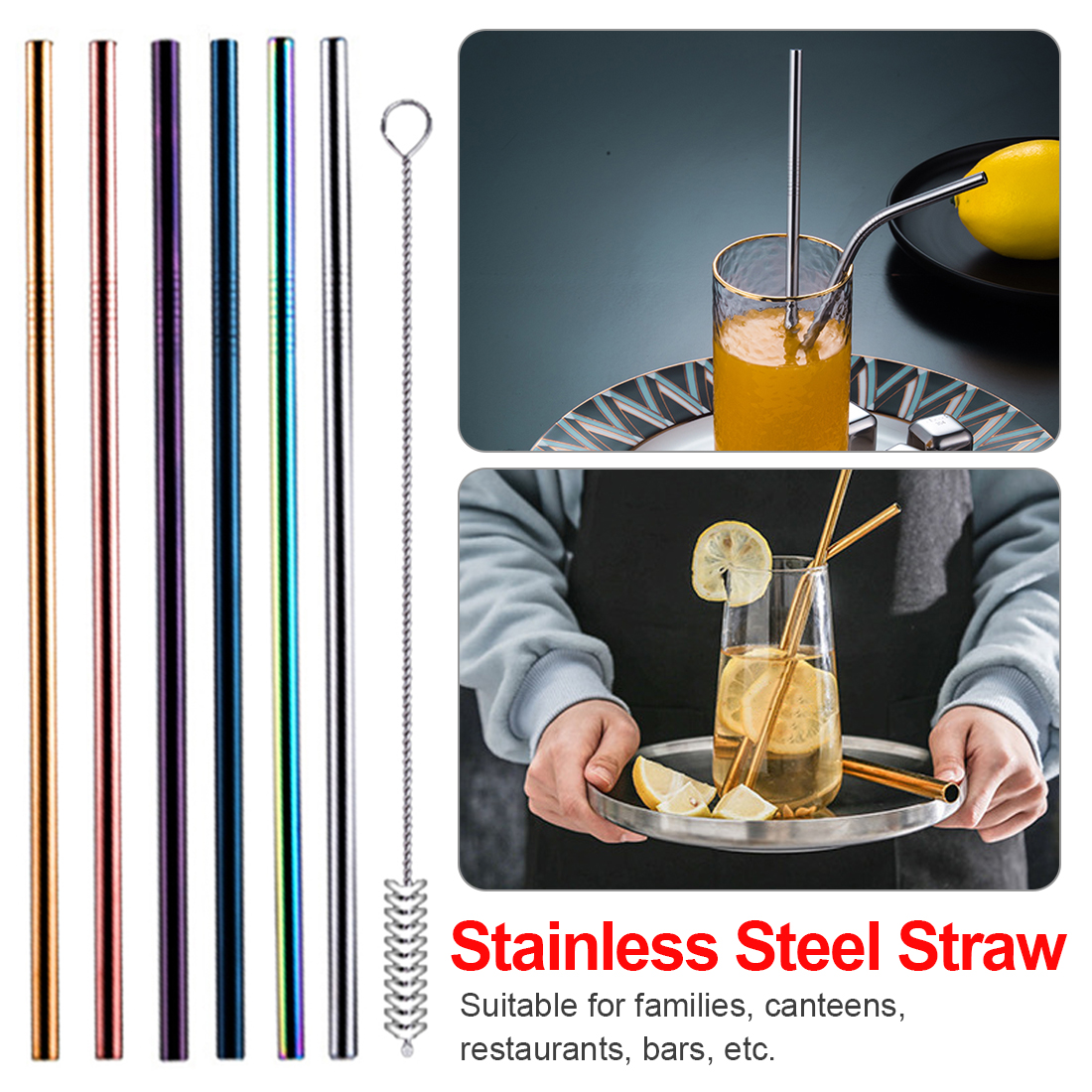 Drinking Straw 4pcs/set Stainless Steel Reusable Metal With Cleaner Brush Kit For Home Party Barware Bar