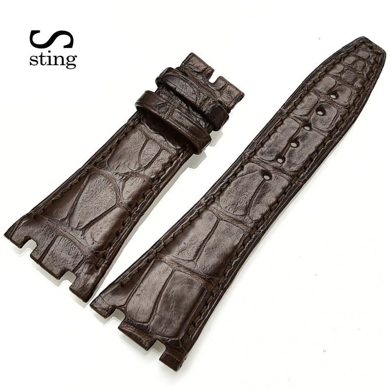 Bracelet de couture noir marron 26 28mm hommes montre bracelet de remplacement Crocodile bracelet de montre avec le métal à l'intérieur
