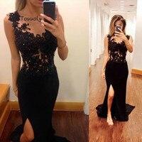 Chic Black Evening Dress With Slit Slim Mermaid Sheer Neck Lace Junior Prom Dresses For Graduation Date Sleeveless Dinner Dress