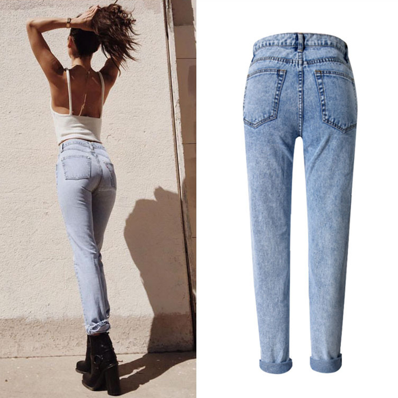 2017, the latest, fashion trends, Europe and the United States women's BF street snow high waist loose straight denim trousers have a large size of nine pants new clothes, (5)