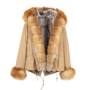 Image 5 - JAZZEVAR 2019 חדש אופנה נשים לוקסוס גדול אמיתי שועל פרווה שרוול צווארון ברדס מעיל קצר מעיילים להאריך ימים יותר חורף מעיל