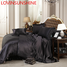 LOVINSUNSHINE Luxury Bed Sheet US King Size Silk Duvet Cover Set Satin Silk Bedding Sets AB06#