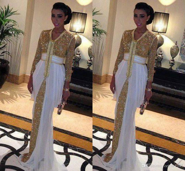 a3b323fcadc0 Hot Sale Evening Dress Stunning White Chiffon Gold Blink Sequins Celebrity  Dress Long Sleeve Mermaid Fashion Prom Dres