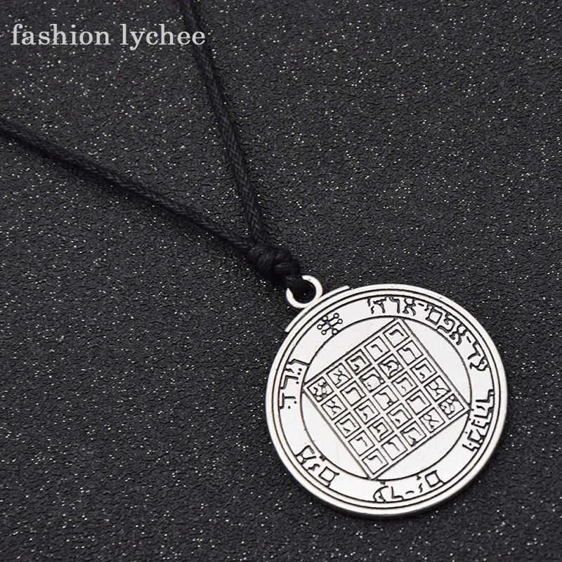 Moda lychee pentagram Saturn talizman klucz salomona Seal wisiorek naszyjnik hermetyczna kabała Enochian Pagan Wiccan biżuteria