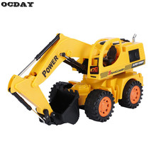 OCDAY RC Car Excavator With LED Remote Control Super Electric Wire Control Monster Vehicle Toy Machine Model Toys for Children