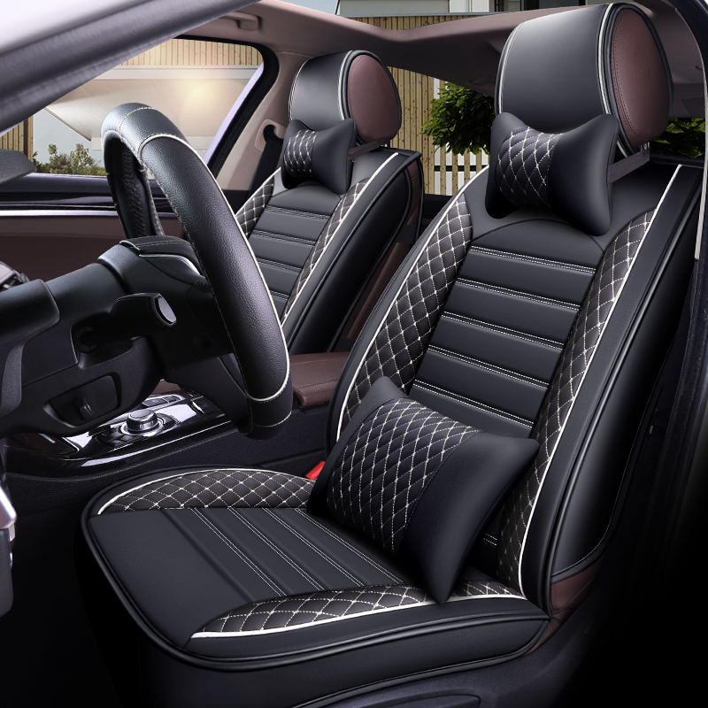 5 seats/set car seat cover pu leather auto-covers black cushion cloak in the auto covers for cars styling a3 4 ibiza kia ceed gg цена 2017