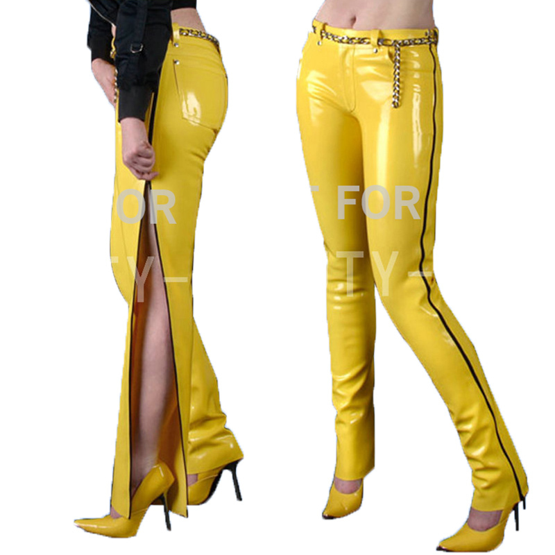 Latex Trousers Pants For Women Fetish Capris Long Zipper Show your Sexy Plus Size Customizable 100% Natural Handmade