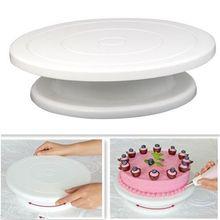 28 cm cocina cake decorating icing giratoria placa giratoria soporte de la torta blanca de plástico fondant herramienta para hornear diy