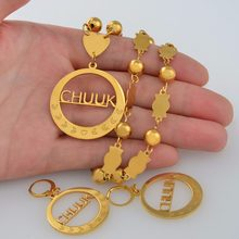 Anniyo Chuuk Big Pendant Beads Necklaces Earrings sets Round Ball Chains Ethnic Jewelry Gifts #048121(China)