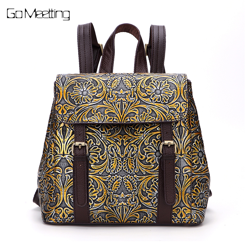 Brush Color Genuine Leather Women Backpack Vintage Emboss Cow Leather Ladies Shoulder Bag High quality School Travel Backpacks high quality genuine leather women backpacks female embossed flower backpack school bag vintage coffee ladies travel bags l0244