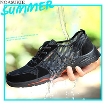 Men Summer Breathable Mesh Safety Shoes Anti-Smashing Puncture Steel Toe Shoes Lightweight Men Work Shoes CasualB Boots Man steel toe boots breathable safety shoes men s lightweight summer anti smashing piercing work fashion shoes 2018 men