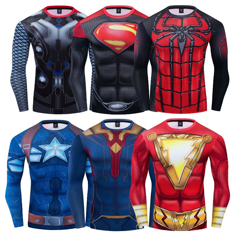 t     Shirt   men shazam Superman Spiderman Aquaman Thor Captain America 3D print Fitness Compression Long Sleeve gym clothes 2019