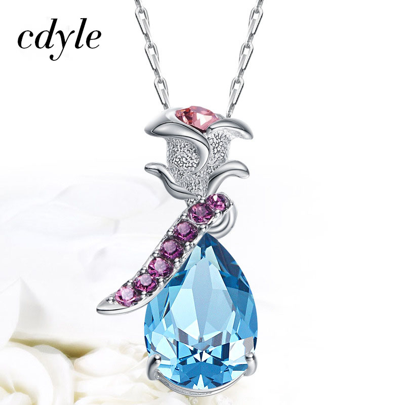 Cdyle Charms Women Rose Vintage Pendant Crystals from Swarovski S925 Sterling Silver Necklace Blue Purple Jewelry 12 11cm funny sexy witch lady gir sexy witch lady car stickers car sticker decals black silver blue yellow ct 585