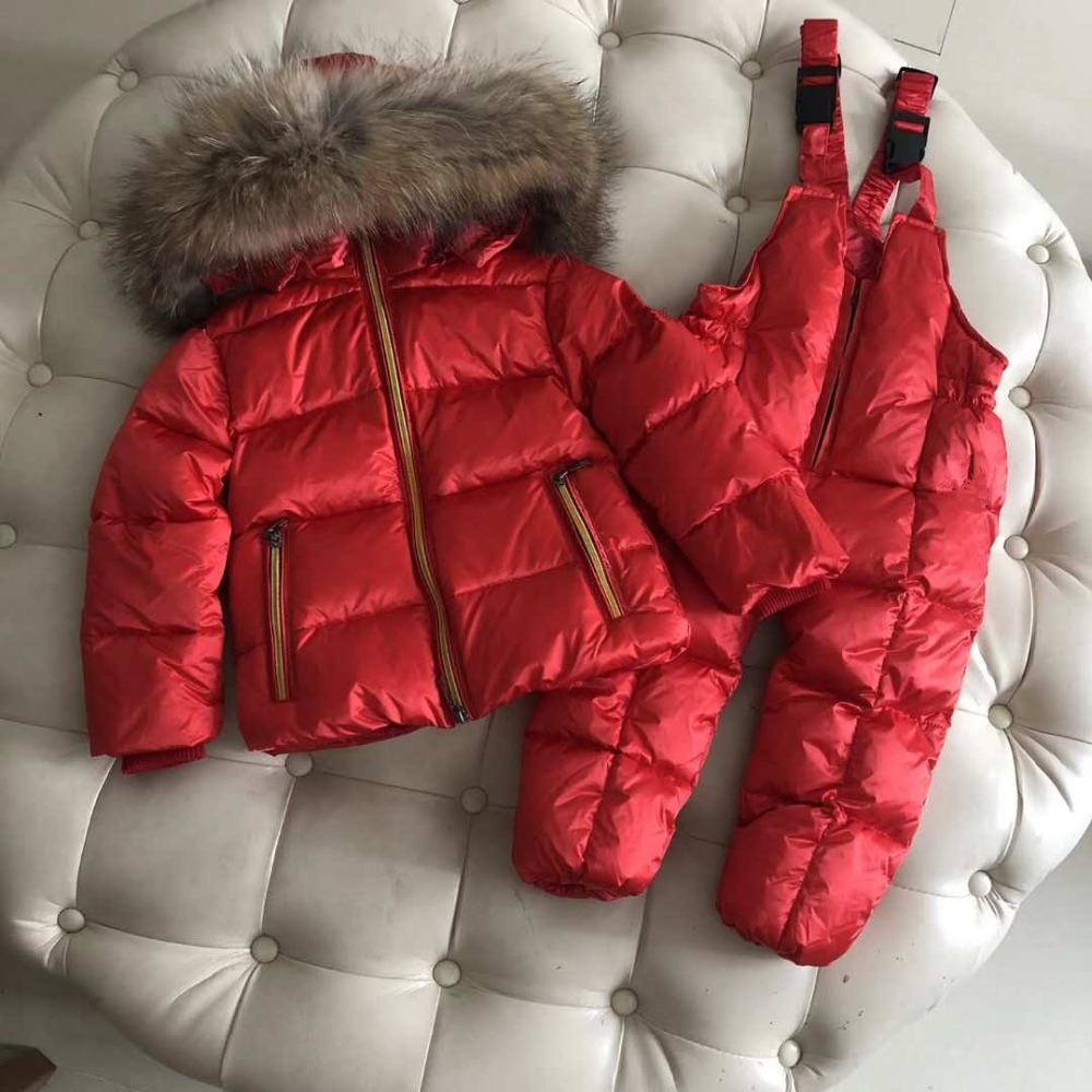 Winter Baby Girl Down Jacket Nature Fur Hooded Two-Piece Down Coat Boy and Girl Snowwear Kids Hooded Outerwear Winter Children new winter children clothes sets boy and girl baby duck down jacket thick warm lining fleece hooded two piece down coat 83250