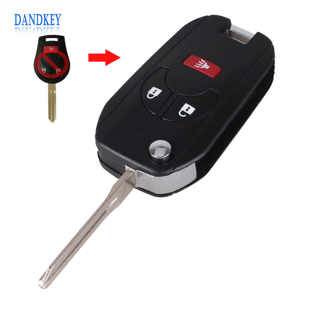 Dandkey New Replacement Car Key 2+1 Panic Key Shell Case For Nissan Cube Juke Rogue Uncut Blank Flip Folding 3 Buttons