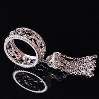 Free Shipment Designer Style Women Fashion Sterling Silver With Platinum Plated Zircon Tassel Ring