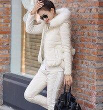 2016 Зима новый женская мода расстроен хлопка мягкой вниз пальто куртки костюмы женский 3 шт. отдых хлопка-мягкие брюки набор