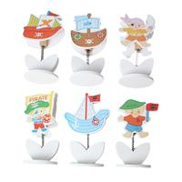 Wood Name Note Card Holder Photo Clip Stand Office Supply Multicolor Pirate 24.0cm x 21.0cm, 1 Box(Approx 12PCs)