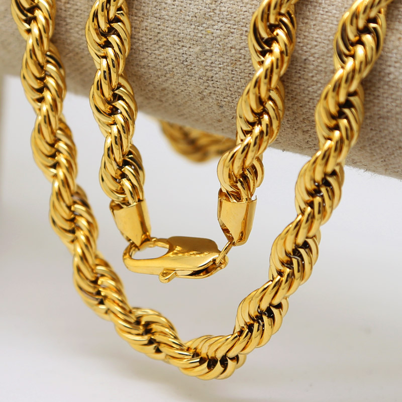 2bb0f9ac0 Men hip hop Solid Rope Chain 24K Gold Plated Twisted Long Heavy Dookie  Necklace Young Jeezy Style Chain