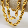 Men  hip hop  Solid Rope Chain 24K Gold Plated Twisted Long Heavy Dookie Necklace Young Jeezy Style Chain