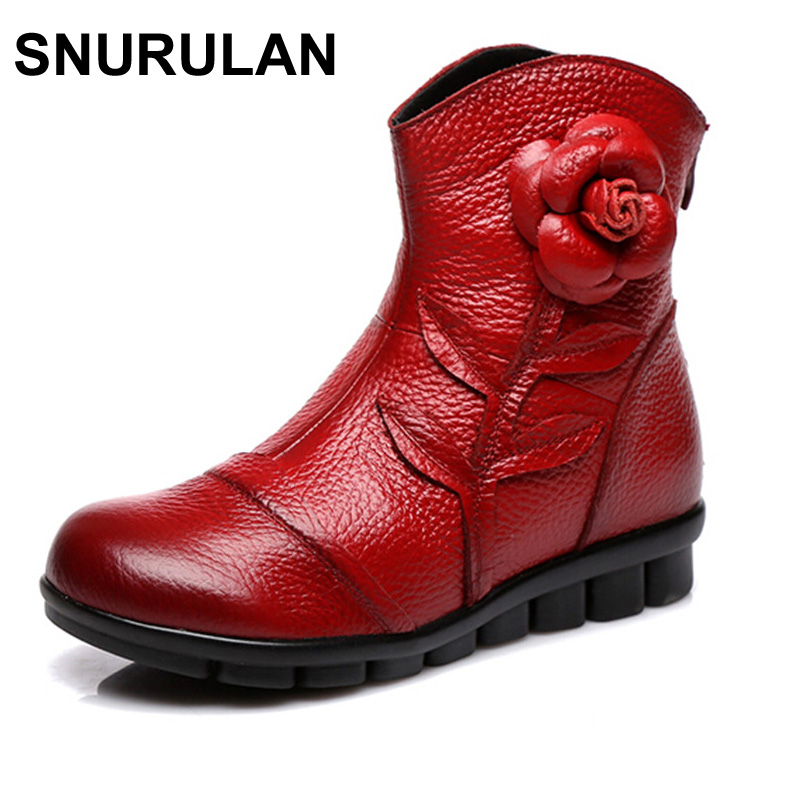 SNURULAN Women Shoes Spring Female Genuine Leather Boots Handmade Vintage Style Ankle Boots Fashion