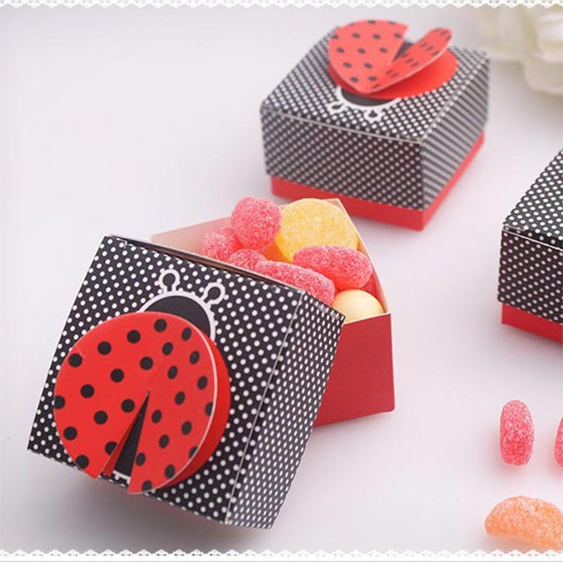 10pcs 3D Wing Ladybug Gift Boxes Wedding Baby Shower Favor Box Candy Box Chocolate Packaging Box For Birthday Party Event Favor