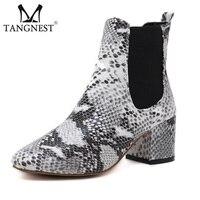 Tangnest Sonbahar YENI Chelsea Çizmeler Kadınların Lüks Snakeskin Desen Ayak Bileği Çizmeler Şık Kadın PU Deri Kare Topuk Ayakkabı XWX6347