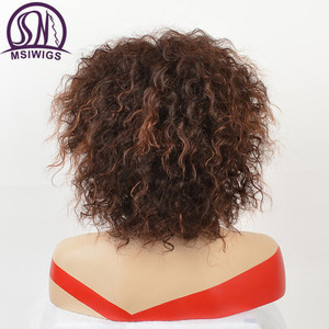 Image 4 - MSIWIGS Afro Medium Wigs for Women Ombre Brown Color Hair Synthetic Wig with Highlight
