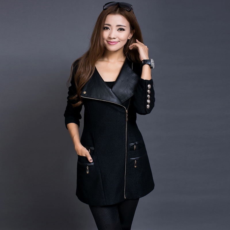 CHAOJUE Woolen overcoat female 2017 Autumn patchwork zipper slim ...