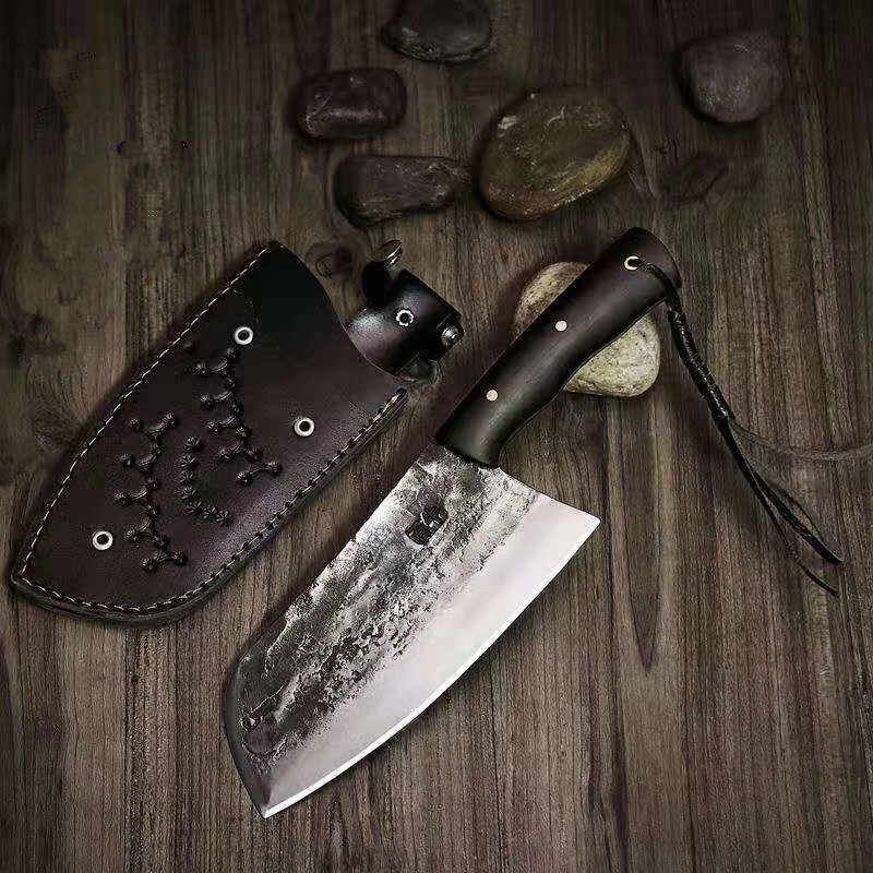 Chinese Handmade Forged Kitchen Knife High Carbon Steel Butcher Knives Cleaver Full Tang Filleting Handle Slaughter Knife