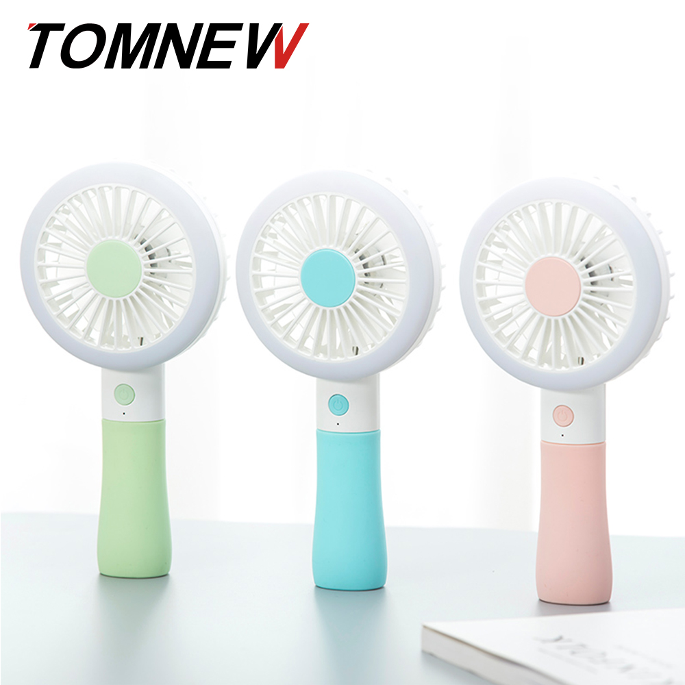 TOMNEW Portable Multifunction Mini Fan USB Rechargeable Table Hanheld Small Fan LED Fill Light For Beauty or Read Indoor Outdoor