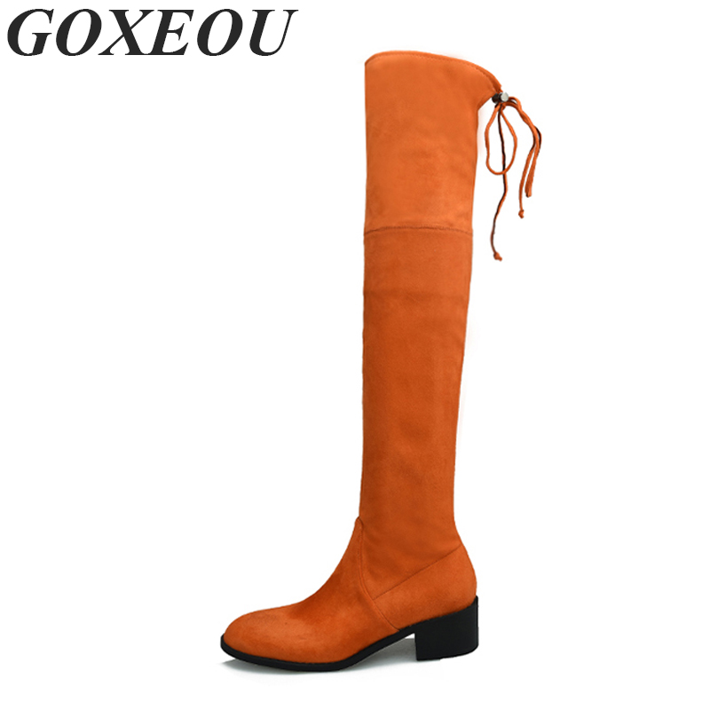 GOXEOU Round Toe Womens Knee Boots Plus Size 34-42 Casual Fashion Sexy Thigh High Boots For Women Knee High Shoes Woman Brand