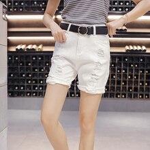 2016 Fashion Ladies Jeans Vintage Trousers Women Hole Denim Short Pants Slim Clothing 100 Cotton Straight