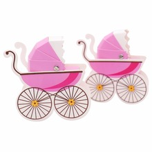 10pcs /lot Stroller Shape Paper Candy Box  Baby Shower Favors Kids Birthday Party Wedding Gifts package  Decoration Supplies