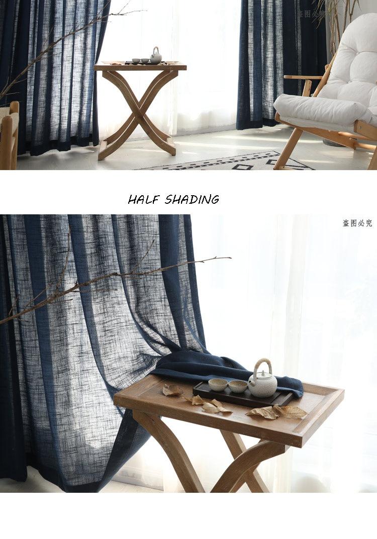 moderna sólida japão falso linho janela cortina