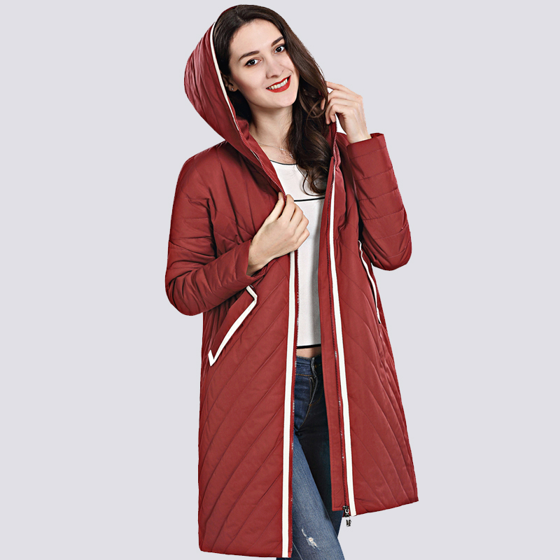 2019 High Quality Women's Coat Spring Autum Female Windproof Thin   Parka   Long Plus Size Hooded New Designs Women Jackets Outwear