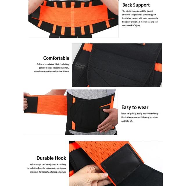 Women Men Waist Trimmer Belt Lumbar Back Support Brace Fitness Weightlifting Belt Adjustable Abdominal Elastic Waist Trainer 4
